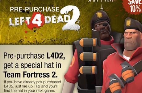 『Left 4 Dead 2』の予約特典に Team Fortress 2用の帽子が追加
