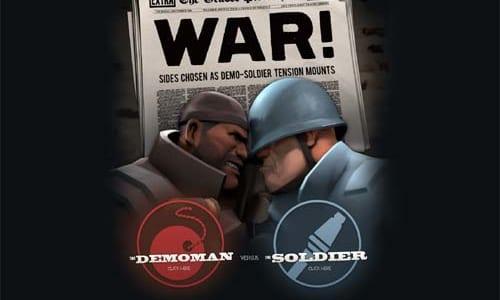 Demoman と Soldier が武器をかけて対決する『The War Update』特設サイトオープン