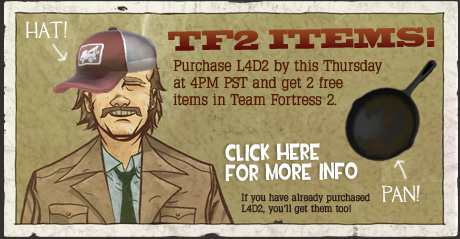 Team Fortress 2 のゲーム内アイテムが『Left 4 Dead 2』の購入特典として期間限定追加