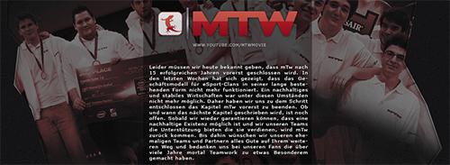 プロゲームチーム mTw が 15 年の活動を終了することを発表