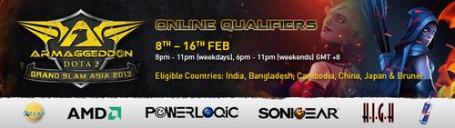 シンガポールで開催される DOTA2 大会『Armaggeddon Grand Slam Asia Online』の予選が 2 月 8 日~ 16 日に開催