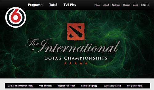 スウェーデンのテレビチャンネル『TV6』が『DOTA2』公式大会『The International 3』の特集ページをオープン