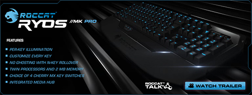 メカニカルゲーミングキーボード『ROCCAT Ryos MK Pro』が2014年1月31日(金)より国内販売開始