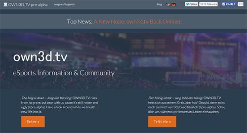 『own3D.tv』がプレアルファ版サイトを公開、初期コンテンツは『League of Legends』のデータ情報