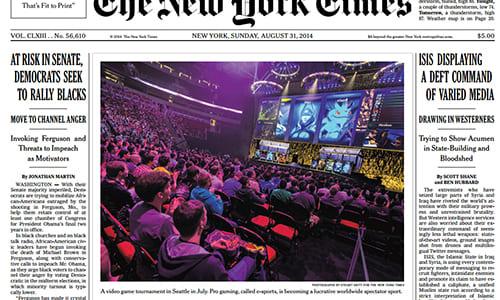 ニューヨーク・タイムズの1面に「eスポーツ」の紹介記事が掲載