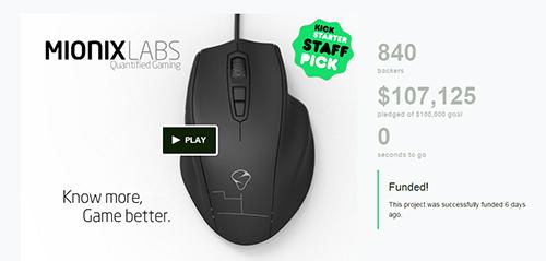 ゲーミングマウス『Mionix NAOS QG』開発プロジェクトがKickstarterで目標額の10万ドル調達を達成