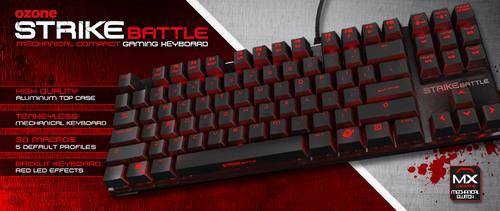 Ozone Gamingが本体枠ナシでコンパクトなテンキーレスのメカニカルゲーミングキーボード『Strike Battle』を発売開始
