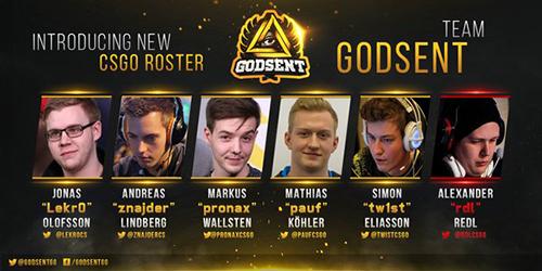 元Fnatic CS:GOのpronax選手らが独自のプロゲーミング組織「GODSENT」を設立
