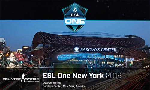 賞金総額25万ドルのCS:GO大会『ESL One New York 2016』プレーオフが日本時間の10/3(月)0時より開始予定