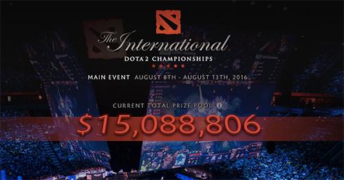 Dota 2世界大会『The International 2016』の賞金総額が1,500万ドル(約15億円)を突破