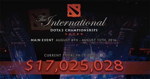 歴代記録更新目前、Dota 2世界大会『The International 2016』の賞金総額が1,700万ドル(約17億円)を突破