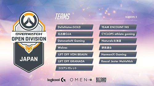 『Overwatch Open Division Japan Season3』出場13チームと登録メンバー発表、オフラインファイナルは12/24(日)に開催日変更