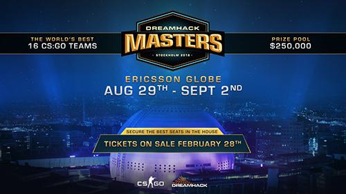賞金総額25万ドルのCS:GO大会『DreamHack Masters Stockholm 2018』が2018年8~9月にスウェーデンで開催