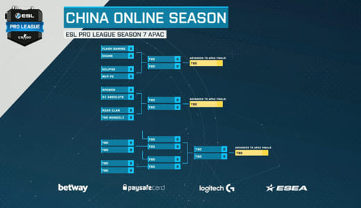 日本SZ.Absoluteが出場、CS:GO『ESL Pro League Season 7』アジアパシフィック 中国予選 中国5Power Club戦が3/27(火)23時より開始予定