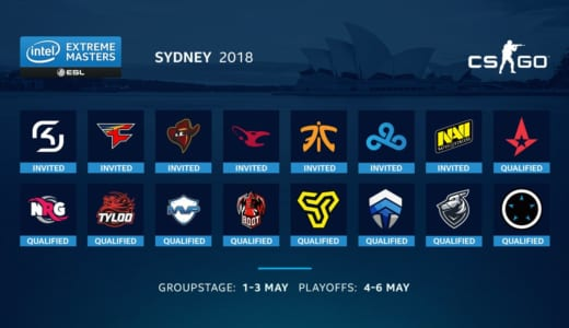 CS:GO『IEM Sydney 2018』が2018年5月1日(火)11時より開幕