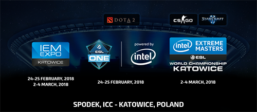 『IEM World Championship 2018』(CS:GO、SC2)、『ESL One Katowice 2018』(Dota 2)が2018年2月末、3月初旬に開催