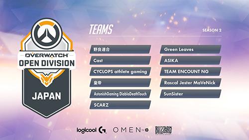 公式大会『Overwatch Open Division Japan Season2』の出場11チームが発表