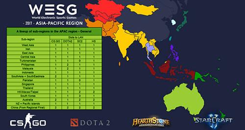 世界大会『World Electronic Sports Games(WESG) 2017』APAC予選のエントリー開始、日本はCS:GO、Dota 2、スタークラフト2、ハースストーンに出場可能