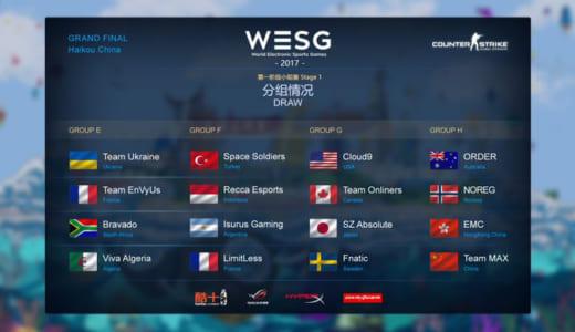 世界大会『WESG 2017』CS:GO部門のグループ分け発表、日本SZ.AbsoluteはグループGでFnatic、Cloud9と対戦