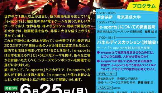 シンポジウム「e-sports は日本を変える!?」が2018年6月25日(月)に電気通信大学で開催