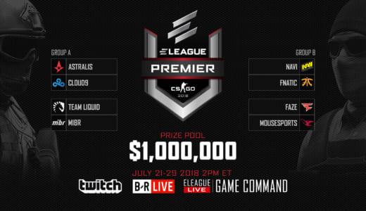 世界ランキング上位8チームが出場、賞金総額100万ドル『ELEAGUE CS:GO Premier 2018』が2018年7月22日(日)3時より開幕