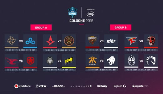 賞金総額30万ドルのCS:GO大会『ESL One Cologne 2018』が開幕