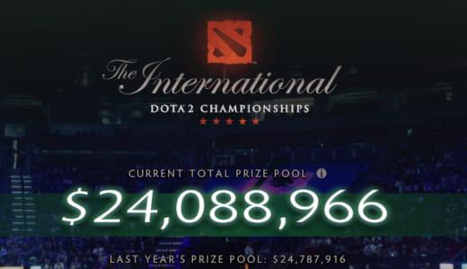 Dota 2公式世界大会『The International 2018』の賞金総額が2400万ドル(約26.6億円)を突破