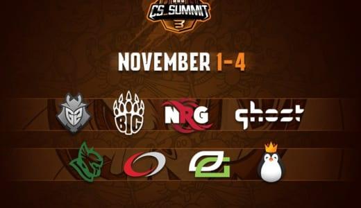 CS:GO大会『cs_summit3』が2018年11月1~4日に開催、招待8チームが出場