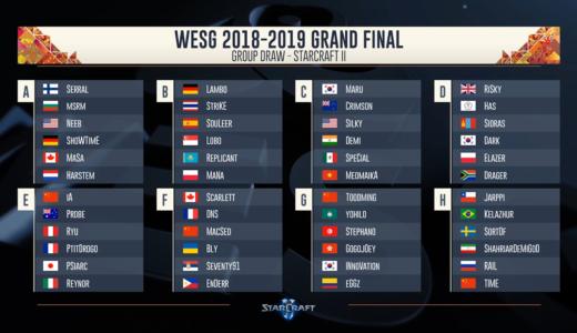 『WESG 2018-2019 Grand Final』StarCraftII部門のグループステージ組み合わせ決定、日本「PSiArc」選手はグループEに