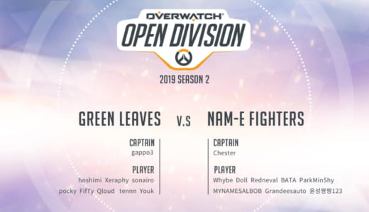 公式大会『2019 Overwatch Open Division Season 2 – Pacific』で日本Green Leavesが優勝、日本D81 FortuNaも3位に