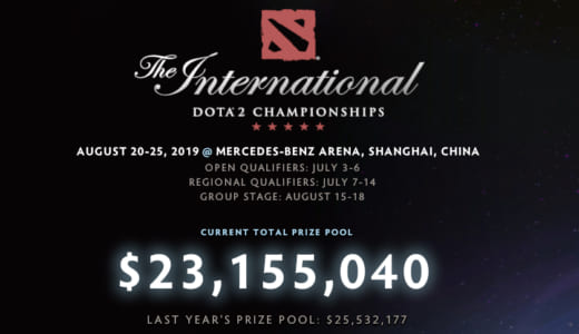 Dota 2世界大会『The International 2019』の賞金総額が約25億円(2,300万ドル)に到達、前年比約130%の伸び率で増額中